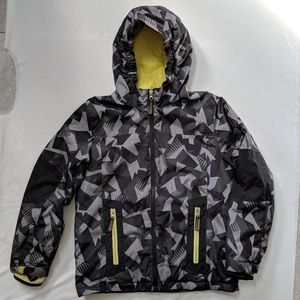Lands End Black Gray Camo puffer coat jacket